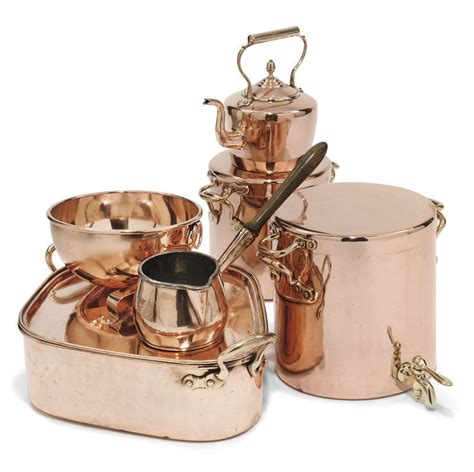 collection  victorian copper cooking utensils  century christies