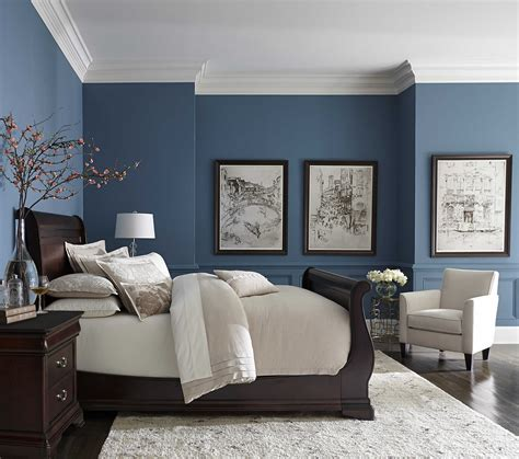 pretty blue color with white crown molding bedrooms