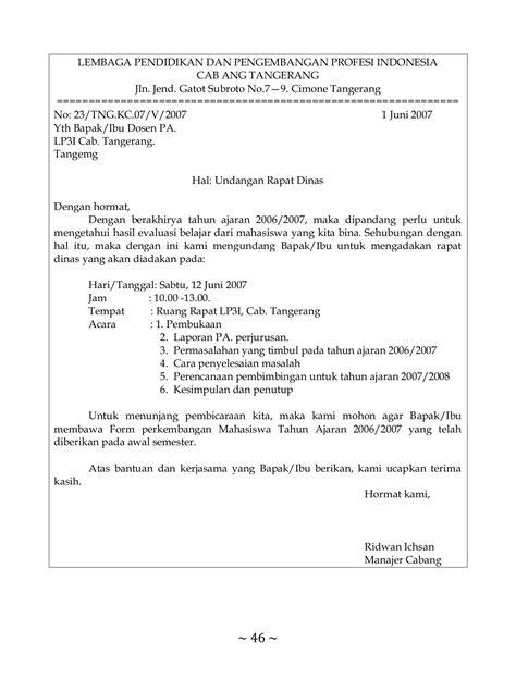 Bentuk Notula Rapat by Contoh Surat Undangan Rapat Perusahaan Bentuk Semi Block