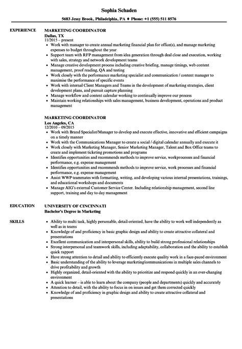 marketing coordinator resume sles velvet