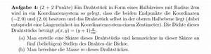 Masse Aus Dichte Berechnen : draht ich habe die dichte eines drahtst cks das zwischen den koordinaten 2 0 und 2 0 ~ Themetempest.com Abrechnung