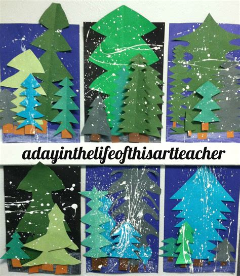 christmas art projects for middle schoolers with mrs king winter pine trees