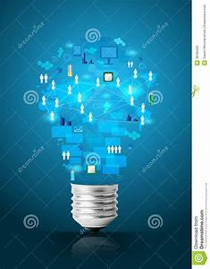 Creative Light Bulb With Technology Business Network