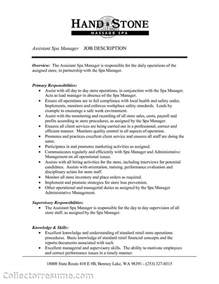 Assistant Manager Description For Resume by Assistant Manager Description Resume Berathen
