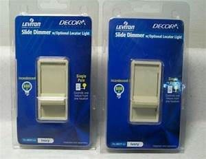 Lot Of 2 Leviton Decora Single Pole Slide Dimmer Switch W