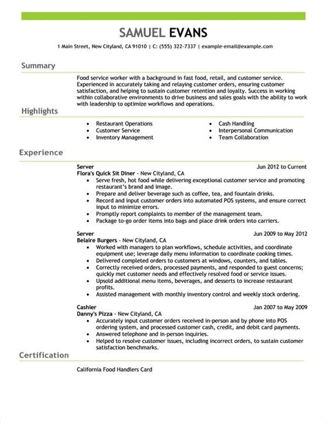 Handling Server Resume by Free Resume Exles By Industry Title Livecareer