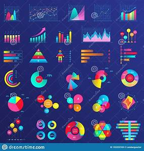 Charts  Graphs  Diagram Infographics Flat Neon