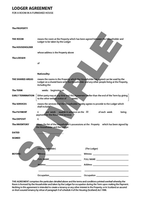 Lodger Agreement - Form Template & Sample | lawpack.co.uk