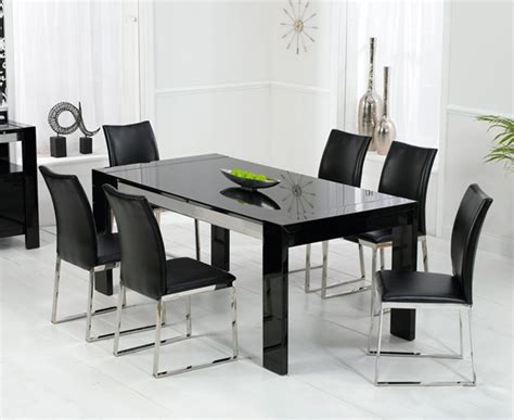Black Dining Table by Enchanting Black High Gloss Dining Table And Chairs