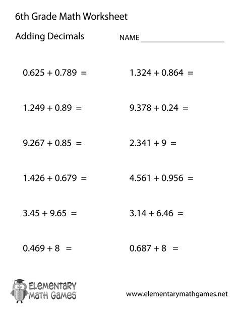 sixth grade adding decimals worksheet