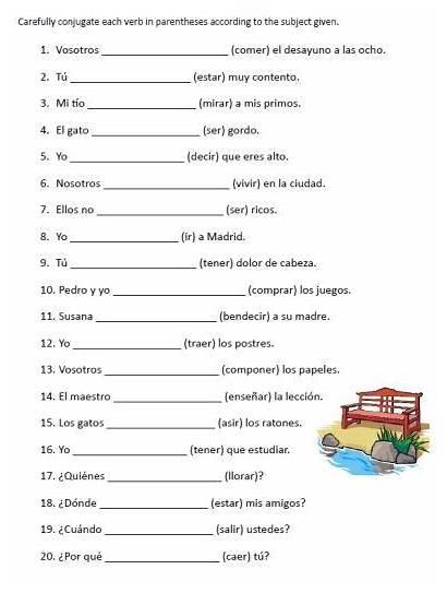 Spanish Worksheets Verb Conjugation Printable Practice Sentences