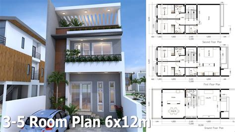 Sketchup 3 Story Home Plan 6x12m