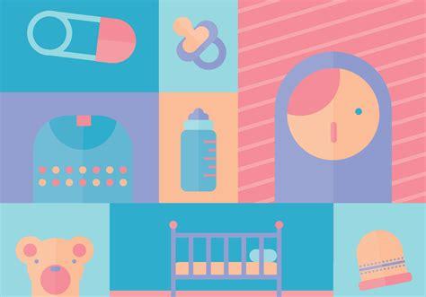 baby girl vector icons   vector art stock