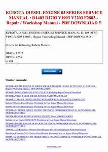 Kubota Diesel Engine 03 Series Service Manual D1403 D1703 V1903 V2203 F2803 Repair Workshop By