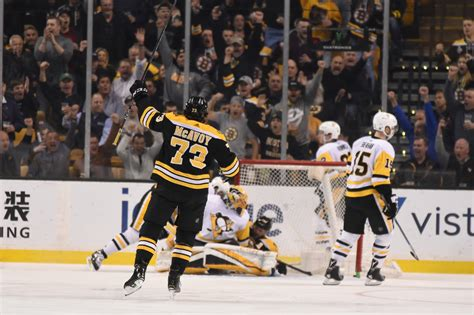 The bruins win the opening faceoff. Boston Bruins: Pittsburgh Penguins Mauled By The Bear