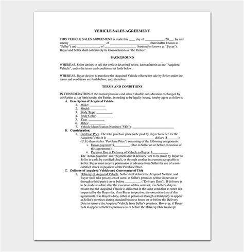 conditional sale agreement  samples examples templates