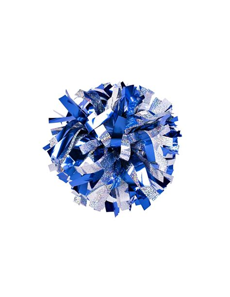 6 Poms Metallic Royal Blue And Holographic Silver