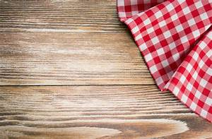 Red Picnic Cloth On Wooden Background Napkin Tablecloth On