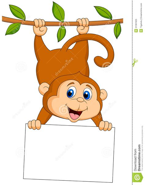 monkey with blank sign royalty free stock 31361925