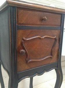 Antique, French, Marble, Top, Bathroom, Hall, Bedside, Cabinet, Table, Black, Painted
