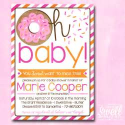 baby shower brunch invitation wording donut invitation doughnut breakfast brunch girl pink orange