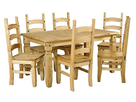 large pine wooden dining table   chairs homegenies