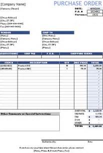 Work Order Form Template Excel Purchase Order Template