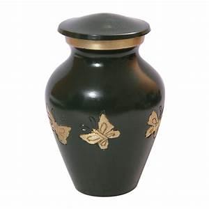 Mini Tribute Butterflies Green Keepsake Funeral Urn, Brass