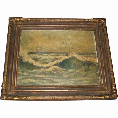 Oil Seascape Painting Antique Signed Rubylane Rlx20
