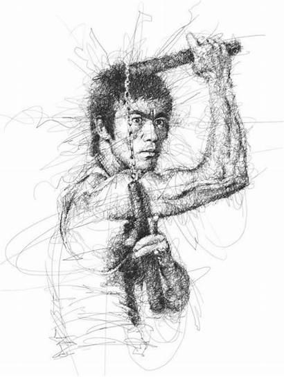 Scribble Bruce Lee Low Vince Pencil Drawings
