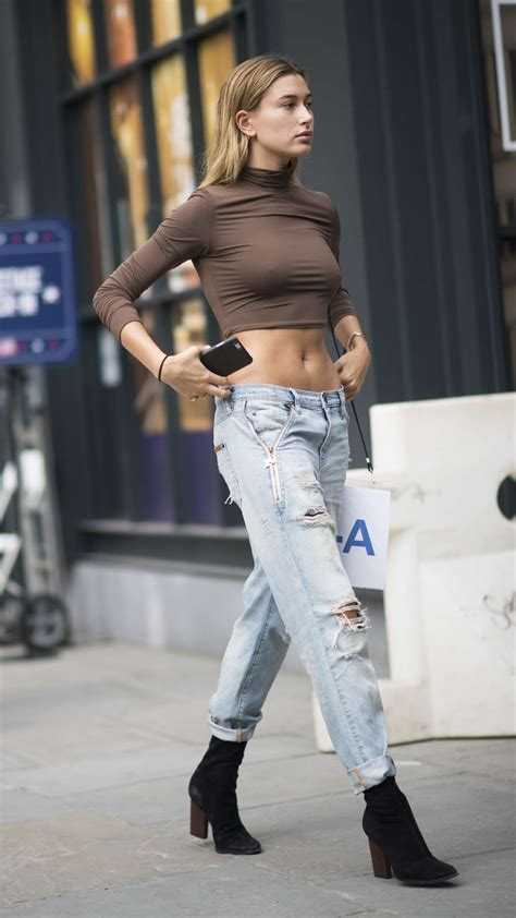 Hailey Baldwin In Ripped Jeans Gotceleb