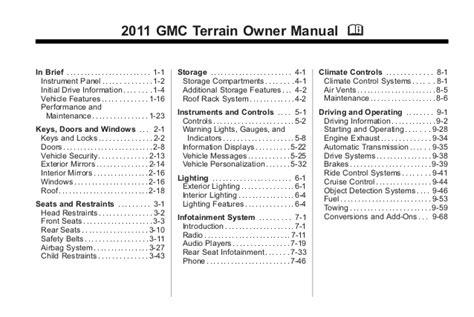 service manuals schematics 2010 gmc terrain instrument cluster 2011 gmc terrain toledo owners manual