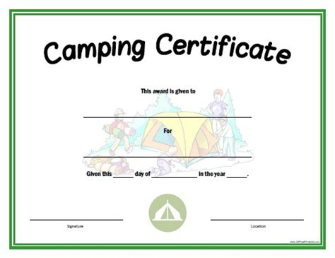 camping certificate  printable allfreeprintablecom
