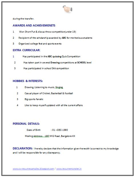 resume declaration for experience 10000 cv and resume sles with free computer science resume format