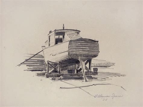 Boat On Beach Drawing by 1938 Duncan Spencer Pencil Drawing Fishing Boat Long Beach