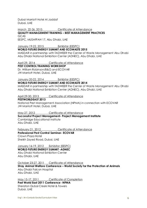 Exle Of A Written Curriculum Vitae by Eng R Arn C Gesite Curriculum Vitae