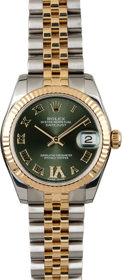 Rolex Datejust 178273 Mid-size Olive Green Dial