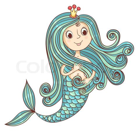 mermaid princess isolated  white stock vector