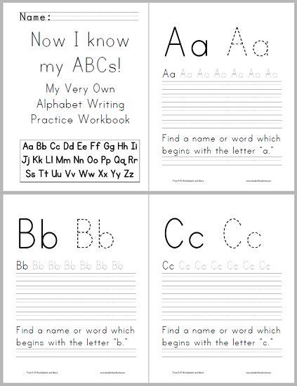 abc alphabet workbook  kids student handouts