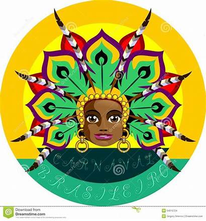 Carnival Brazilian Illustration Vector Face Headdress