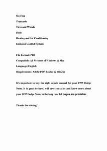 1997 Dodge Neon Service Repair Workshop Manual Download