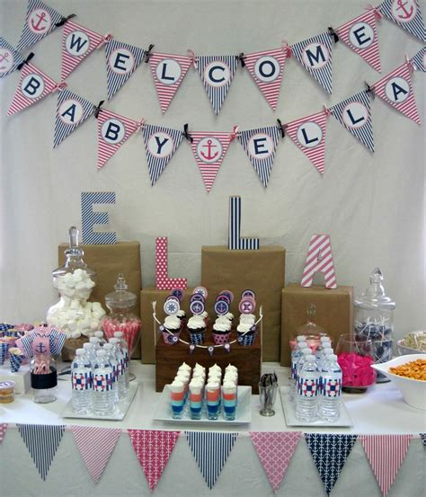 Nautical Baby Shower - pink and navy nautical baby shower with nbrynn designs