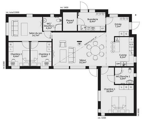 plan de maison de plain pied avec 3 chambres plan maison ossature bois plain pied gratuit 28 images