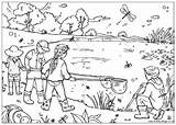 Pond Coloring Habitat Template Printable Dipping sketch template