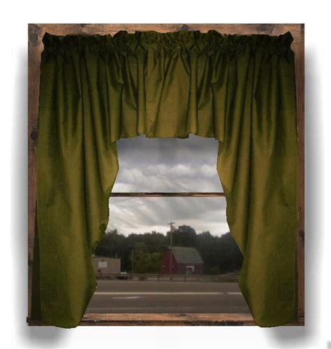 solid olive green colored swag window valance optional