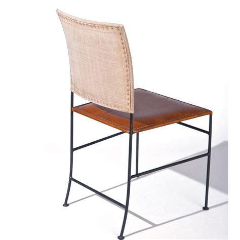 rosi dining chair canvas leather design metal frame