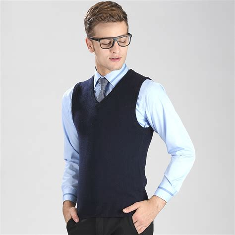 mens sweater vest autumn and winter solid color fashion v neck casual