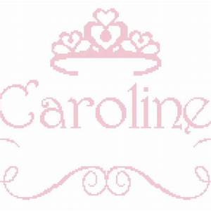 Princess Name with Crown Cross Stitch Pattern with Girl's