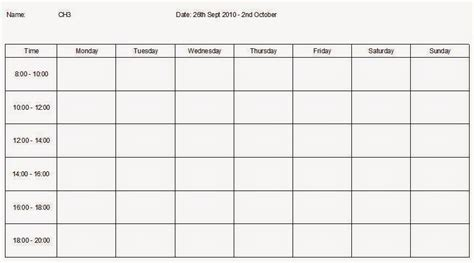 Blank Revision Timetable Template by Revision Template Tolg Jcmanagement Co