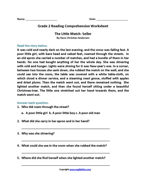 grade  reading comprehension worksheets  db excelcom